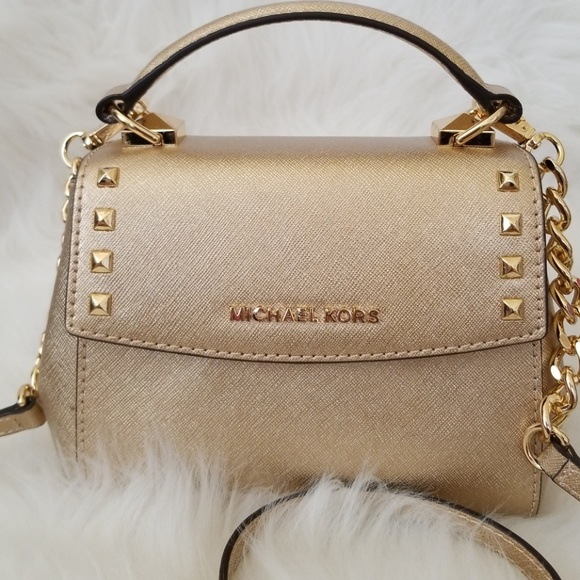 michael kors gold studded crossbody handbag ja415e15